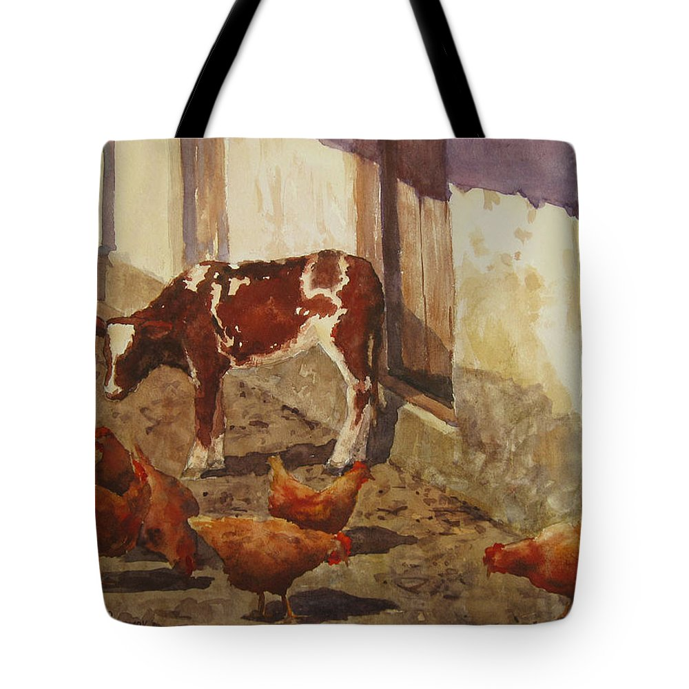 Rural Landscape Tote Bag featuring the painting And Again The Sun by Vasiliy Pohomov