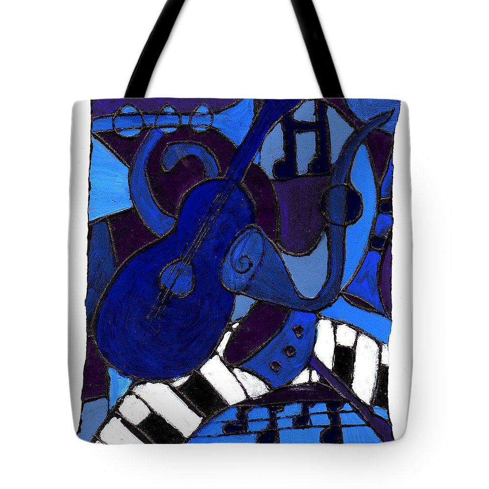 Blues Tote Bag featuring the painting and All that Jazz one by Wayne Potrafka