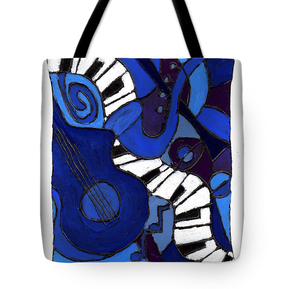 Jazz Tote Bag featuring the painting and All That Jazz two by Wayne Potrafka