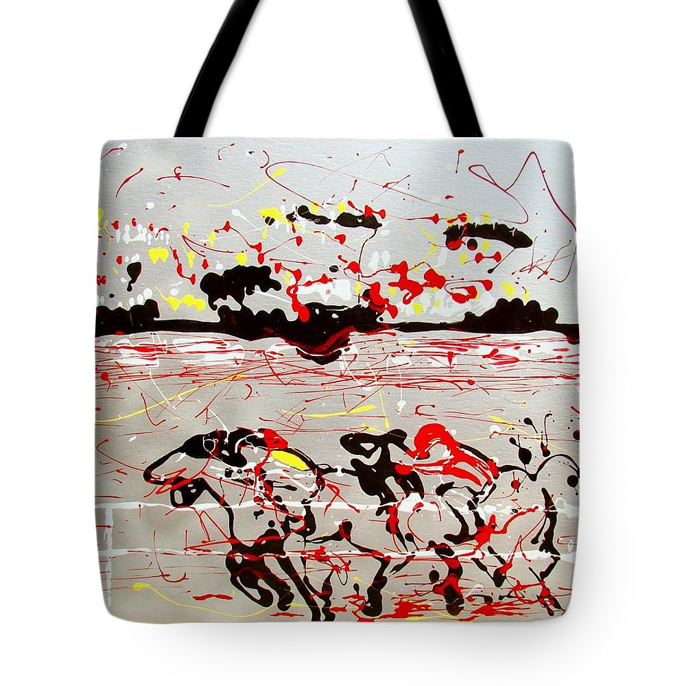 Abstract Tote Bag featuring the mixed media And Down The Stretch They Come by J R Seymour