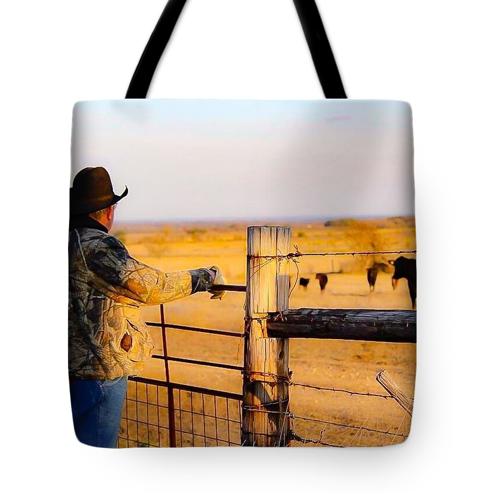 Hay Tote Bag featuring the photograph And God Made A Rancher by Jeanie Mann