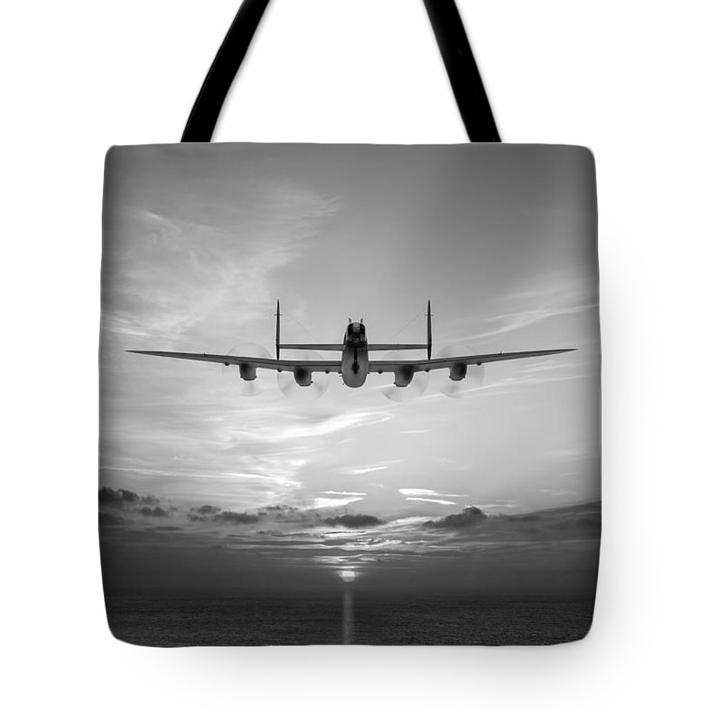 Lancaster Sunset Tote Bag featuring the photograph And In The Morning Black And White Version by Gary Eason