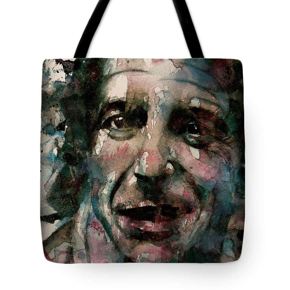 Leonard Cohen Tote Bag featuring the painting And She Feeds You Tea And Oranges That Come All The Way From China by Paul Lovering