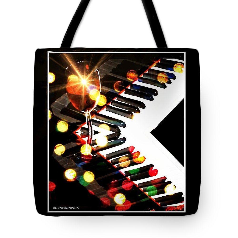Music Tote Bag featuring the digital art And The Piano Sounds Like A Carnival by Ellen Cannon