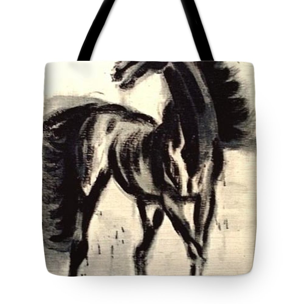 Jarko Tote Bag featuring the painting Andalusian Colt by Jarmo Korhonen aka Jarko