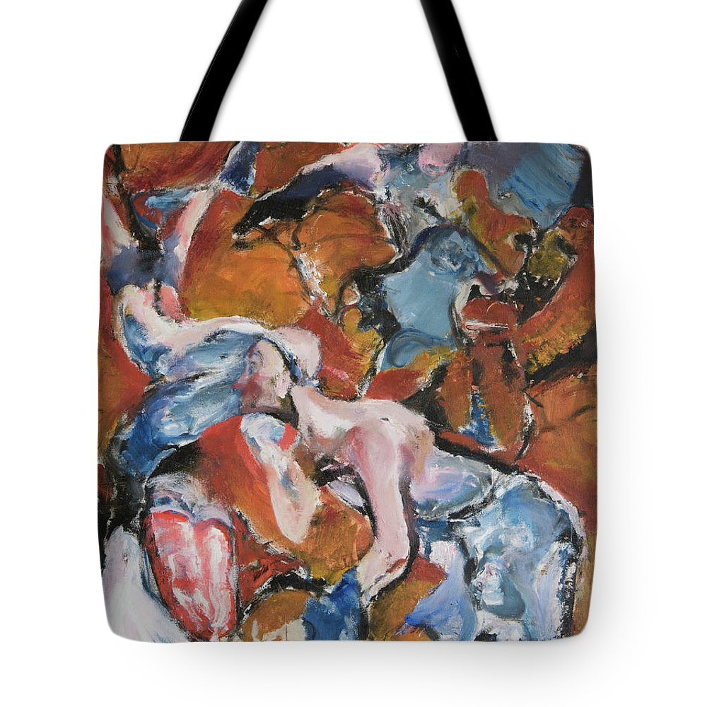 Abstract Figures Tote Bag featuring the painting Andelusian Tessellation by Craig Newland