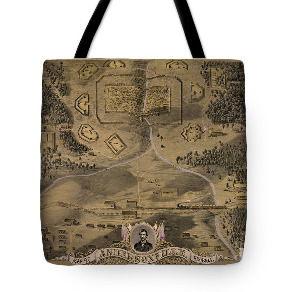 1864 Tote Bag featuring the photograph Andersonville Prison by Granger