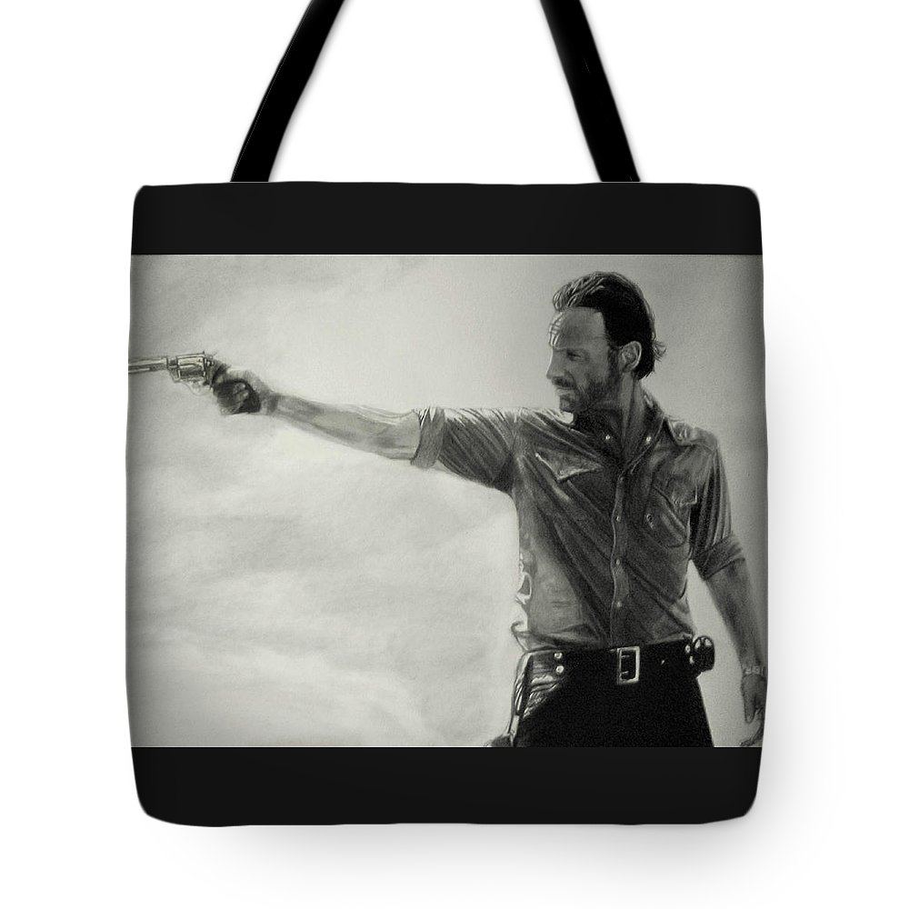 Andrew Lincoln Rick Grimes Pencil Portrait Black And White The Walking Dead Fan Art Tote Bag featuring the drawing Andrew Lincoln by Stan Antonio