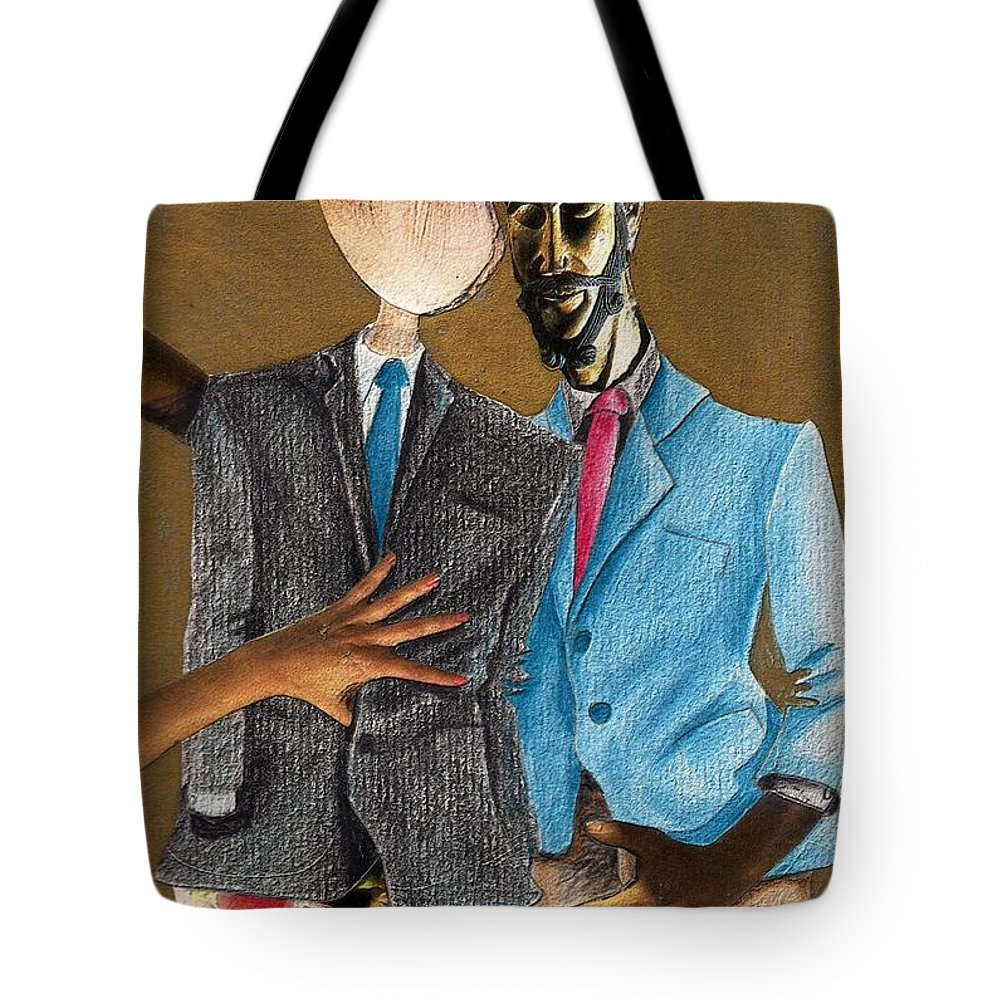 Sex Gay Androginality Couple Love Relation Tote Bag featuring the mixed media Androginality by Veronica Jackson