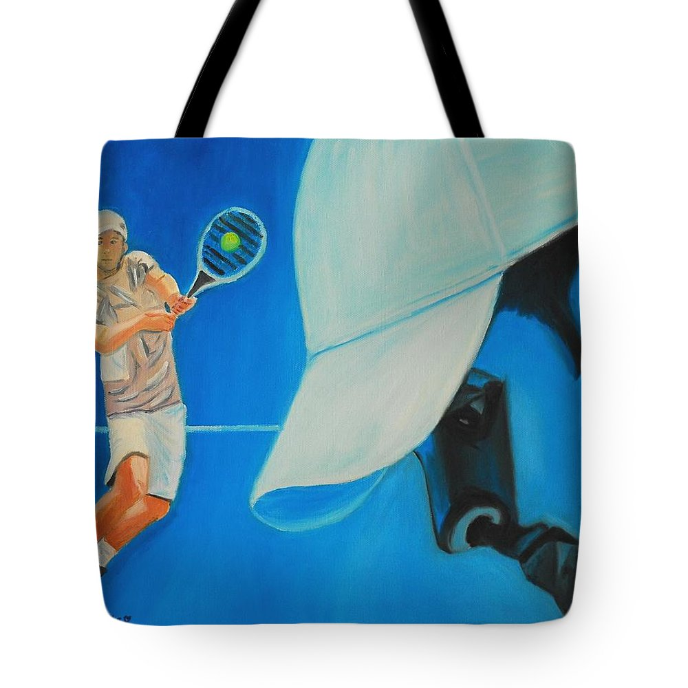 Andy Tote Bag featuring the painting Andy Roddick by Quwatha Valentine