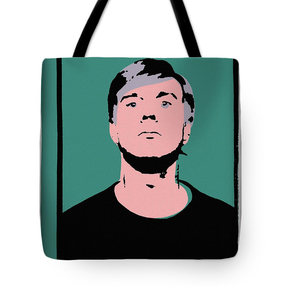 Andy Warhol Tote Bag featuring the painting Andy Warhol Self Portrait 1964 On Green - High Quality - Stamp Edition 2012 by Peter Potamus