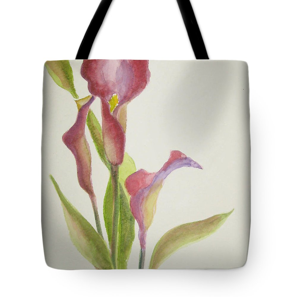 Calla Lillies Tote Bag featuring the painting Andy's Calla Lillies by Marsha Elliott