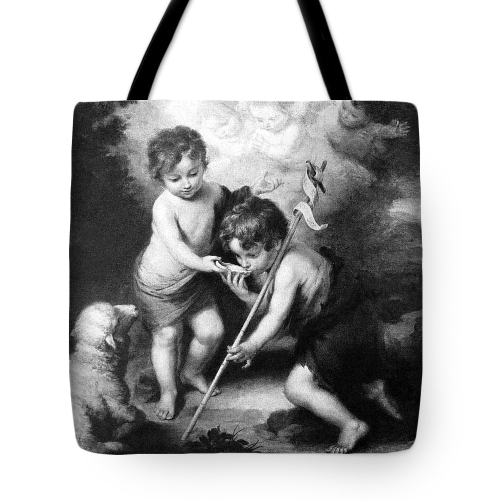 Angel Tote Bag featuring the photograph Angel - Angels With White Lamb by Munir Alawi