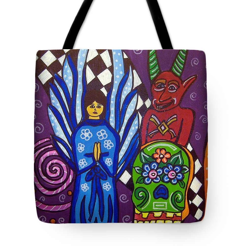 Angel Tote Bag featuring the painting Angel And Devil-day Of The Dead by Anggelyka Apostle