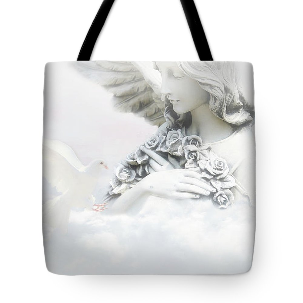 Air Tote Bag featuring the photograph Angel And Dove by Fornalczyk Aleksandra