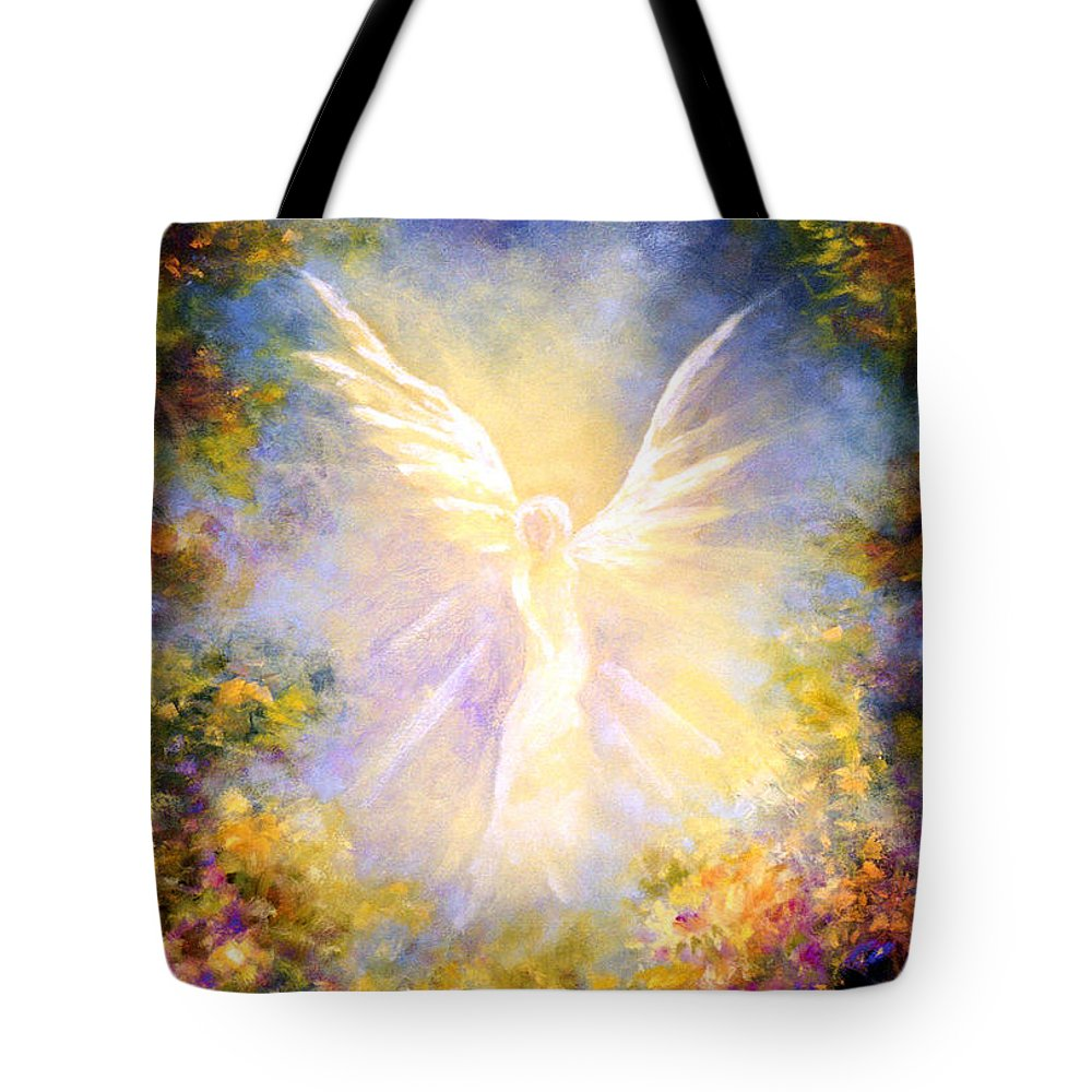 Angel Tote Bag featuring the painting Angel Descending by Marina Petro