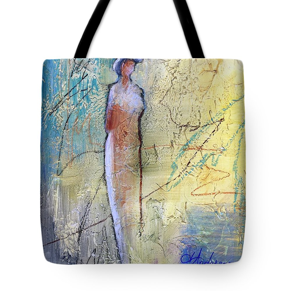Mixed Media Abstract Figure Tote Bag featuring the painting Angel Dust by Joan Anderson