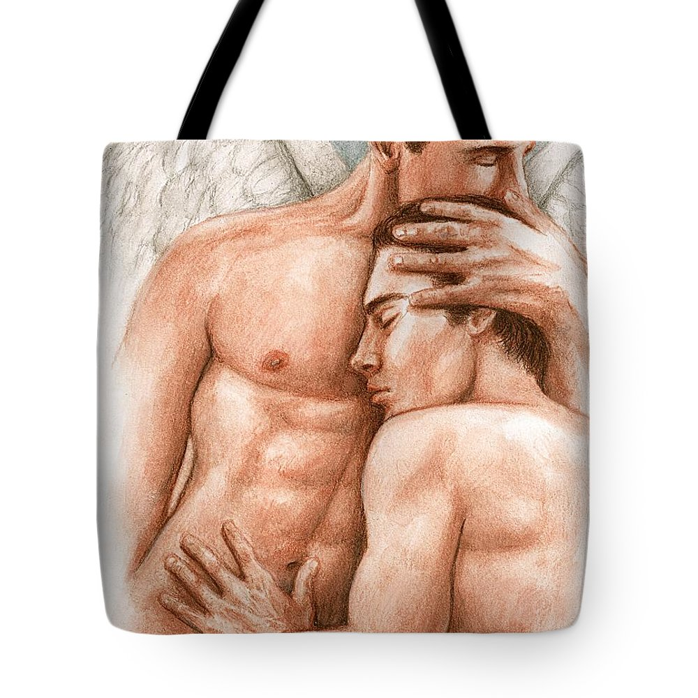 Male Angel Bruce Lennon Art Tote Bag featuring the painting Angel Embrace by Bruce Lennon