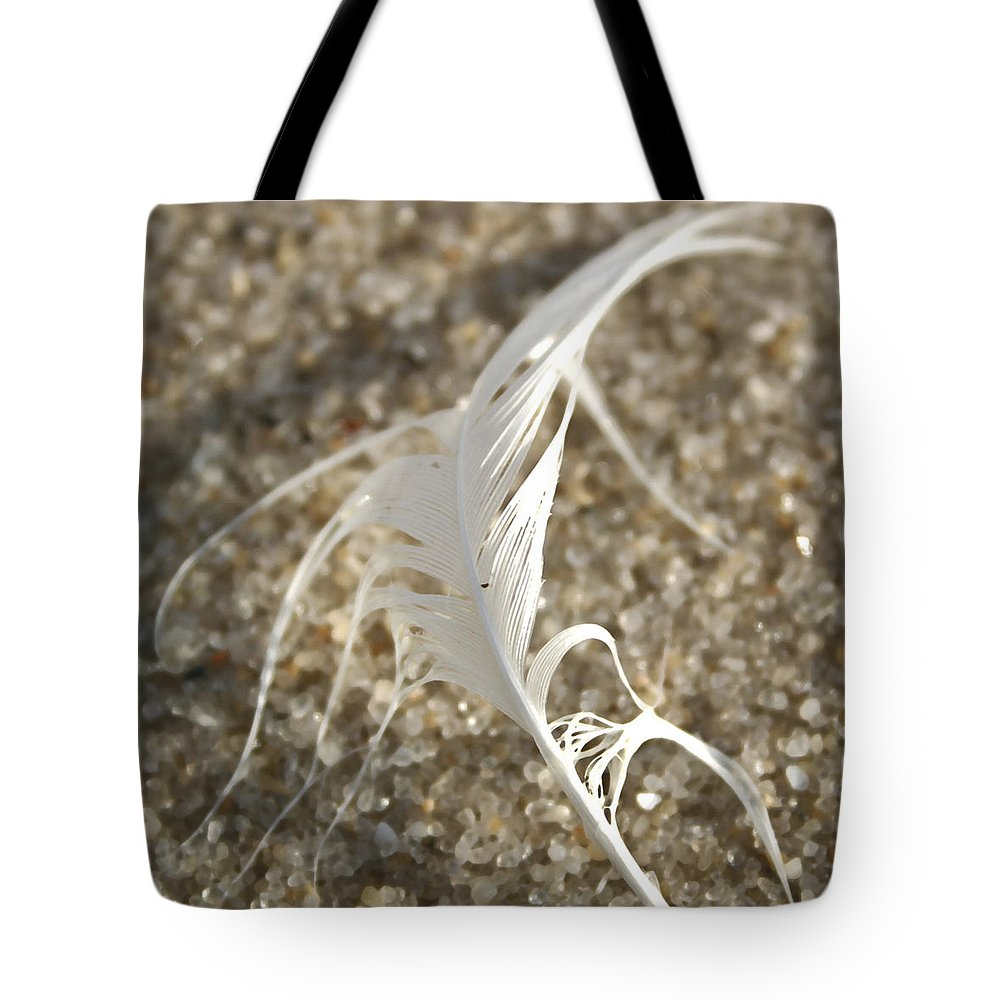 Seascape Tote Bag featuring the photograph Angel Feather by Mary Haber