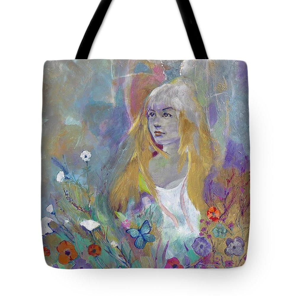 Angel Tote Bag featuring the painting angel I by Michael Clifford Shpack