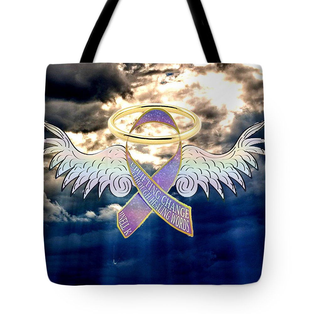 Ribbon Tote Bag featuring the digital art Angel In The Sky by Jinell K