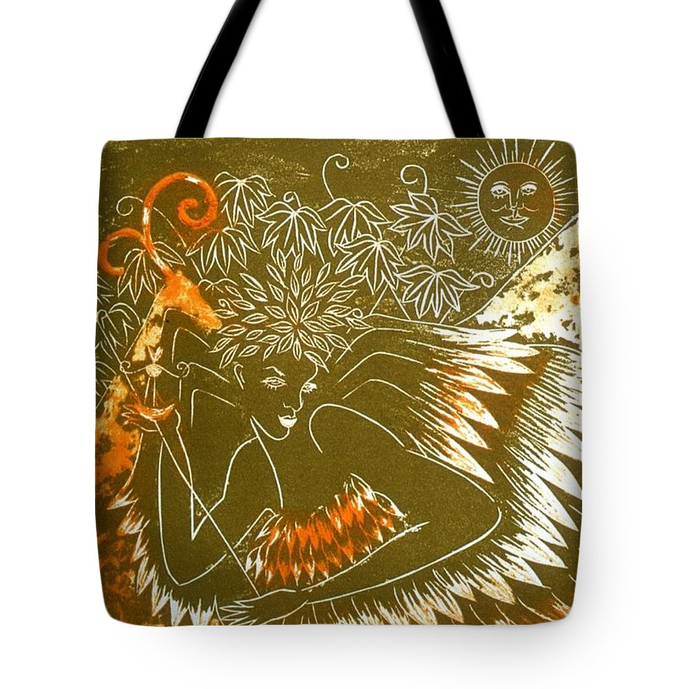 Angel Tote Bag featuring the painting Angel by Minako Oka