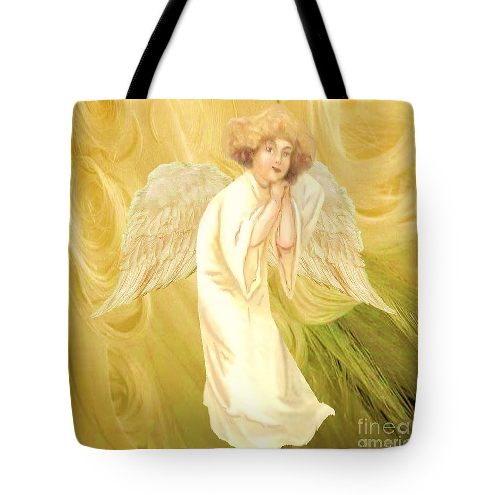 Angel Tote Bag featuring the painting Angel Of Grace by Belinda Threeths