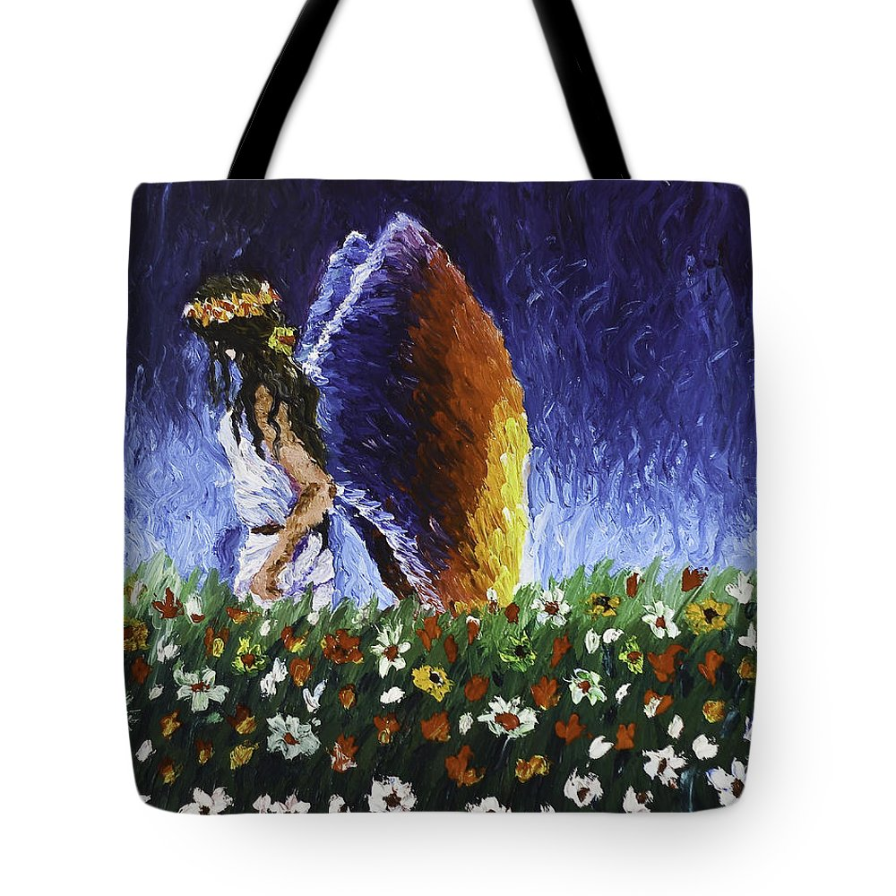 Angels Tote Bag featuring the painting Angel Of Harmoy by Connie Leah Fantilanan