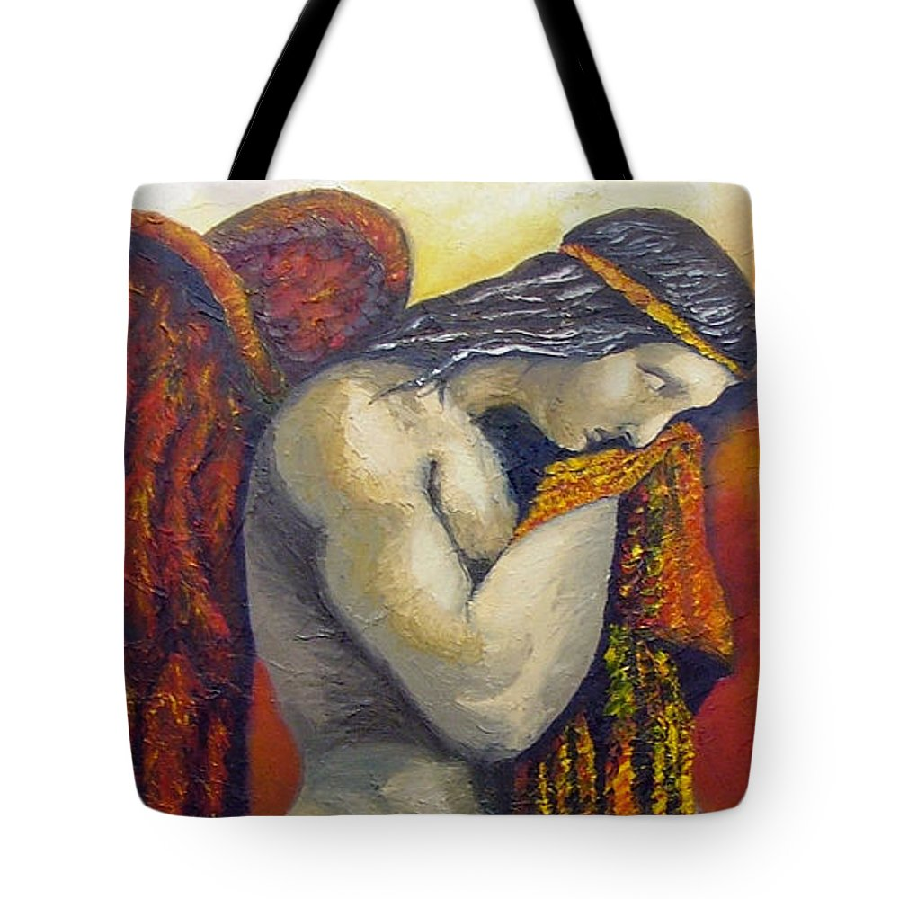 Angel Tote Bag featuring the painting Angel Of Love by Elizabeth Lisy Figueroa