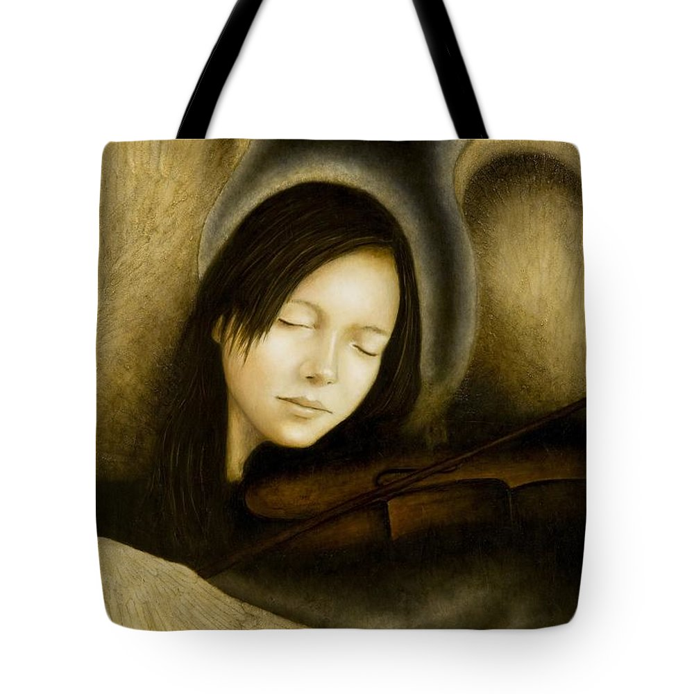 Angel Of Music Tote Bag featuring the painting Angel Of Music by Nanne Nyander