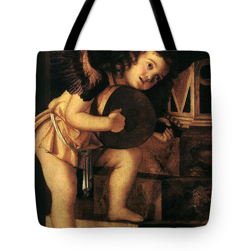 Angel Tote Bag featuring the painting Angel Playing Music by Munir Alawi