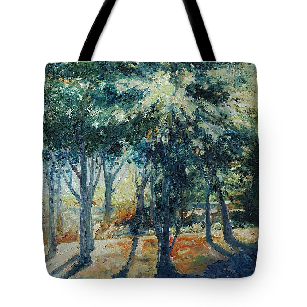 Trees Tote Bag featuring the painting Angel Rays by Rick Nederlof