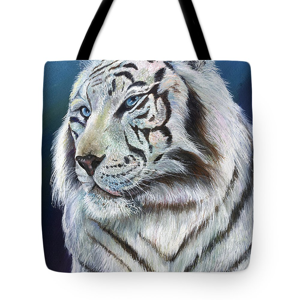 Big Cat Tote Bag featuring the painting Angel The White Tiger by Sherry Shipley