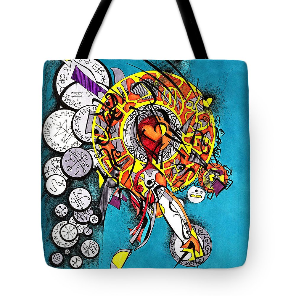 Marker Tote Bag featuring the drawing Angelic Script Angel by Joey Gonzalez