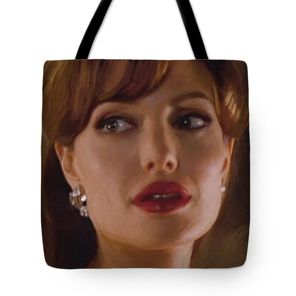Angelina Jolie Tote Bag featuring the painting Angelina Jolie by Dominique Amendola