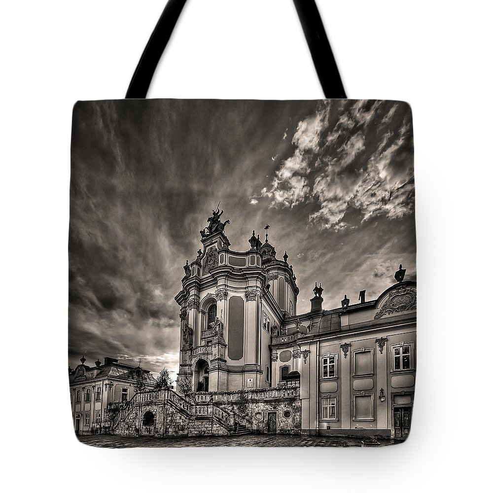 Architecture Tote Bag featuring the photograph Angels And Demons by Evelina Kremsdorf