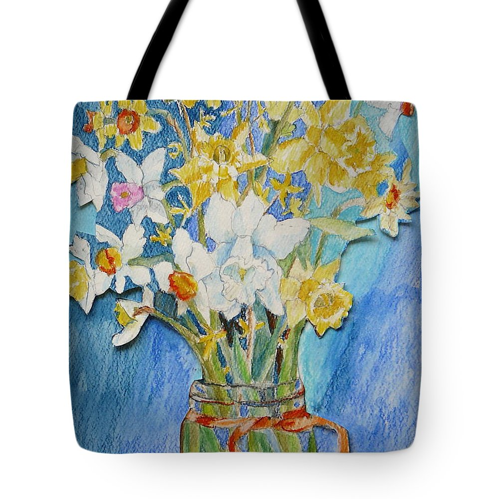 Flowers Tote Bag featuring the painting Angels Flowers by Jan Bennicoff