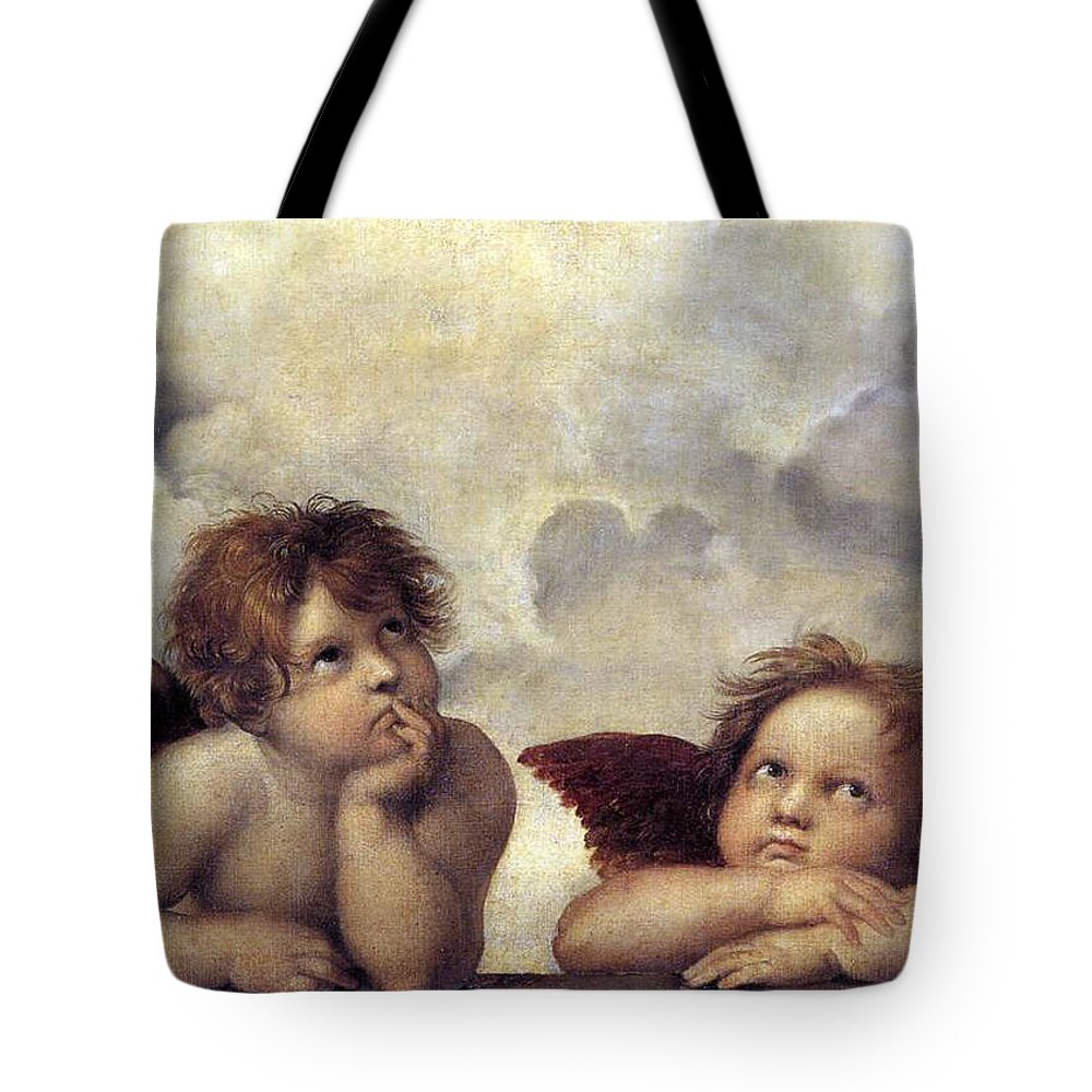 Angels Tote Bag featuring the painting Angels by Munir Alawi