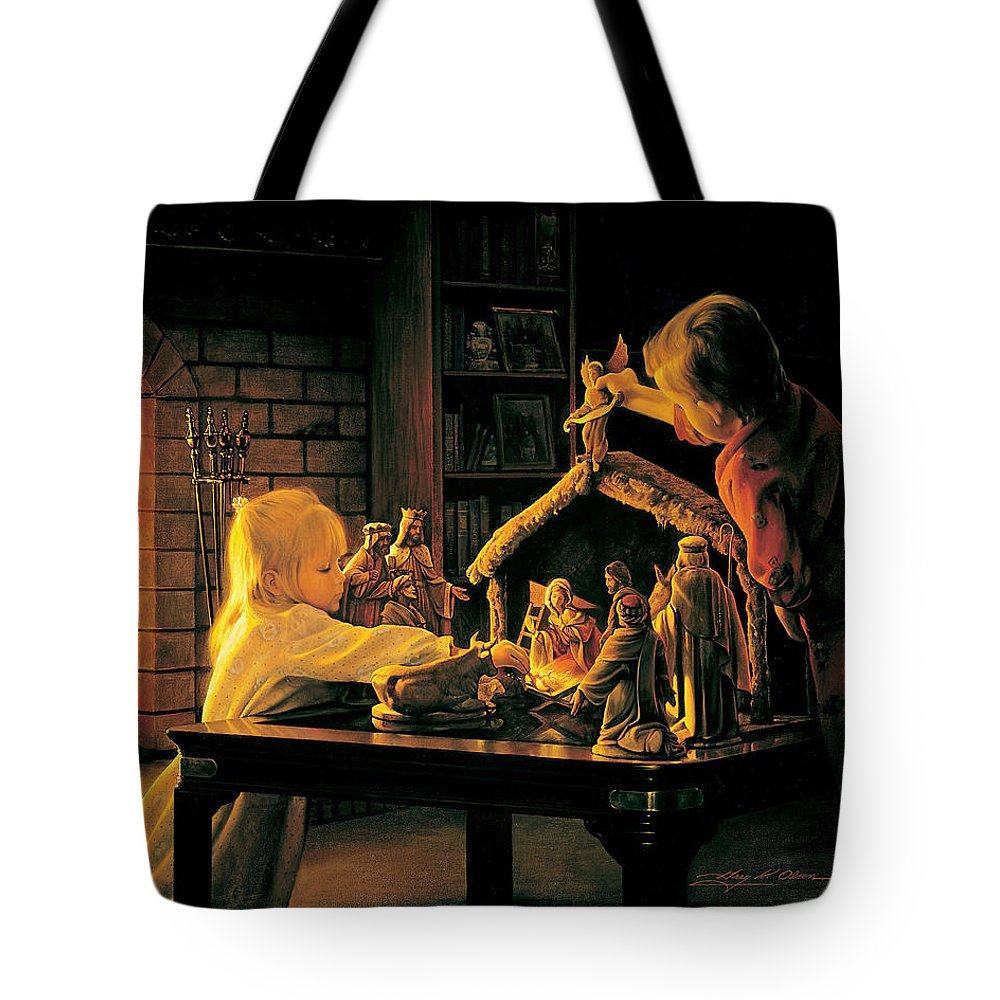 Christmas Tote Bag featuring the painting Angels of Christmas by Greg Olsen