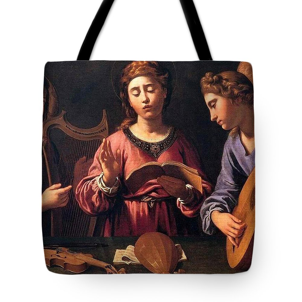 Christmas Tote Bag featuring the painting Angels Singing by Munir Alawi