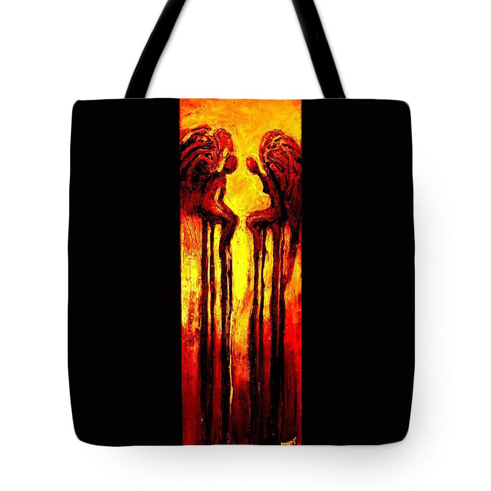 Abstract Tote Bag featuring the painting Angels Talk by Milda Aleknaite