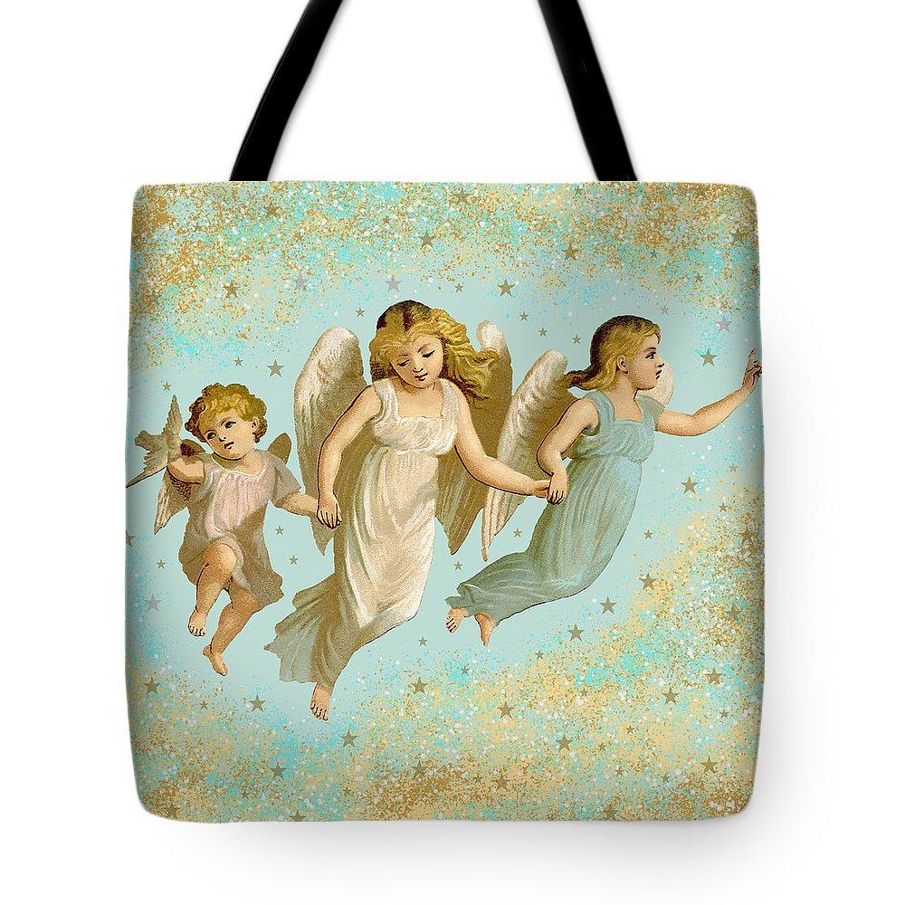 Angels Tote Bag featuring the digital art Angels Three Children Vintage by Joy McKenzie