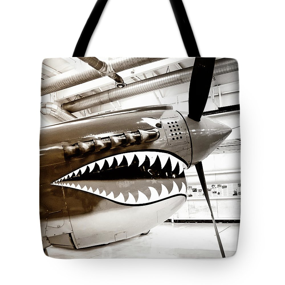 Ps Air Museum Tote Bag featuring the photograph Anger Management Bw Palm Springs Air Museum by William Dey