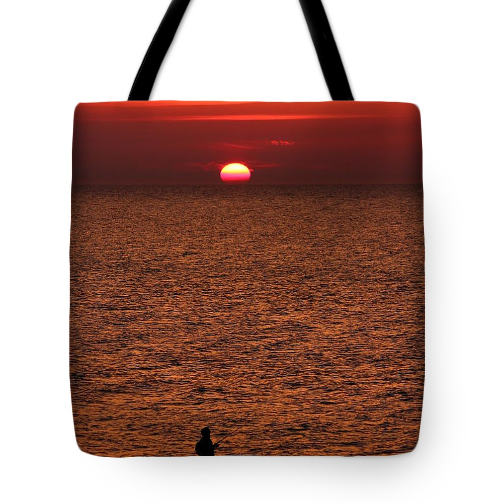 Abendstimmung Tote Bag featuring the photograph Angler In Summer Sunset by Heike Hultsch