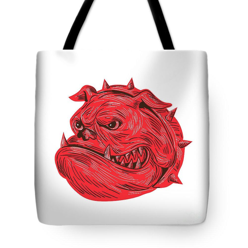 Drawing Tote Bag featuring the digital art Angry Bulldog Head Drawing by Aloysius Patrimonio