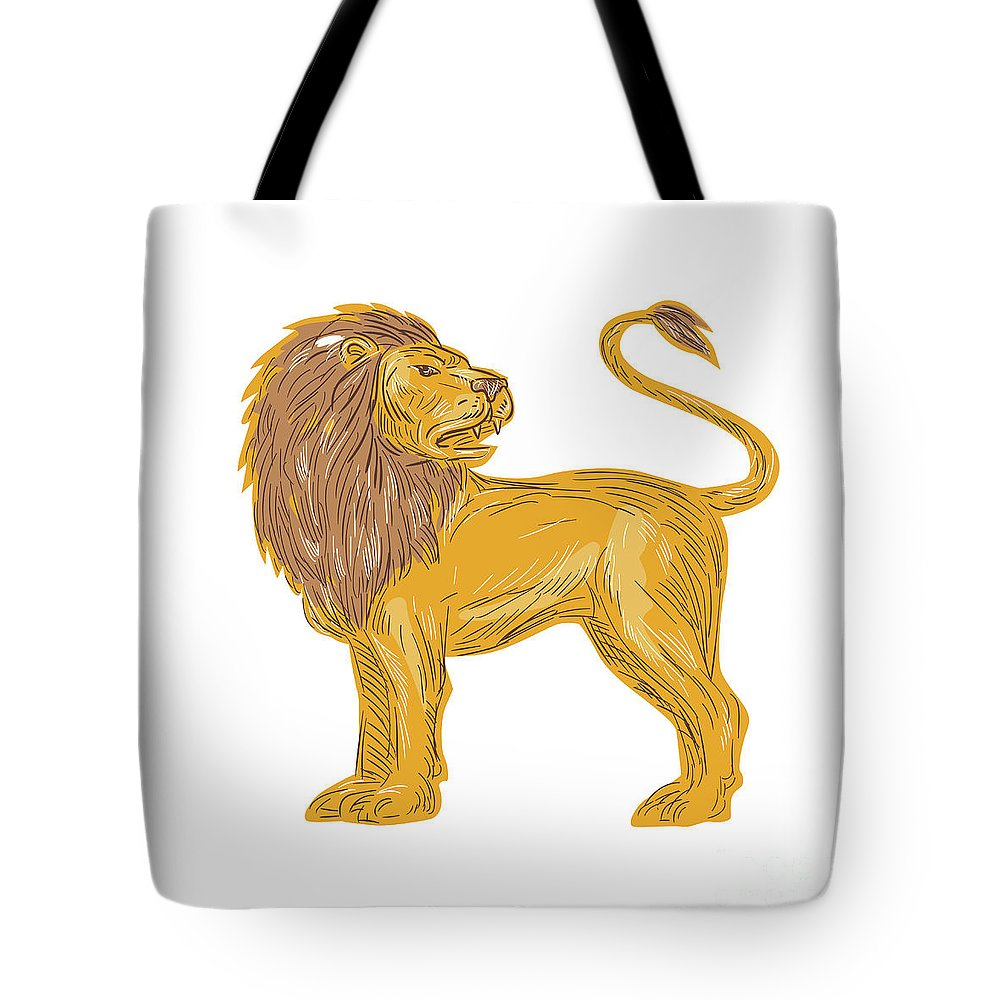 Drawing Tote Bag featuring the digital art Angry Lion Big Cat Roaring Drawing by Aloysius Patrimonio