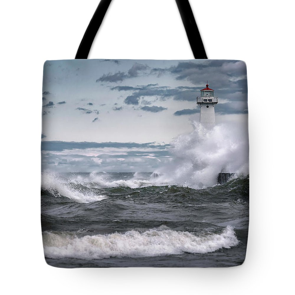 Sodus Point Lighthouse Tote Bag featuring the photograph Angry Waters Of Lake Ontario by Scott Reyes