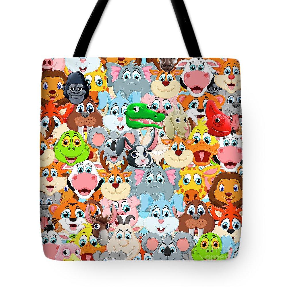 Minimal Tote Bag featuring the digital art Animals Zoo by Mark Ashkenazi