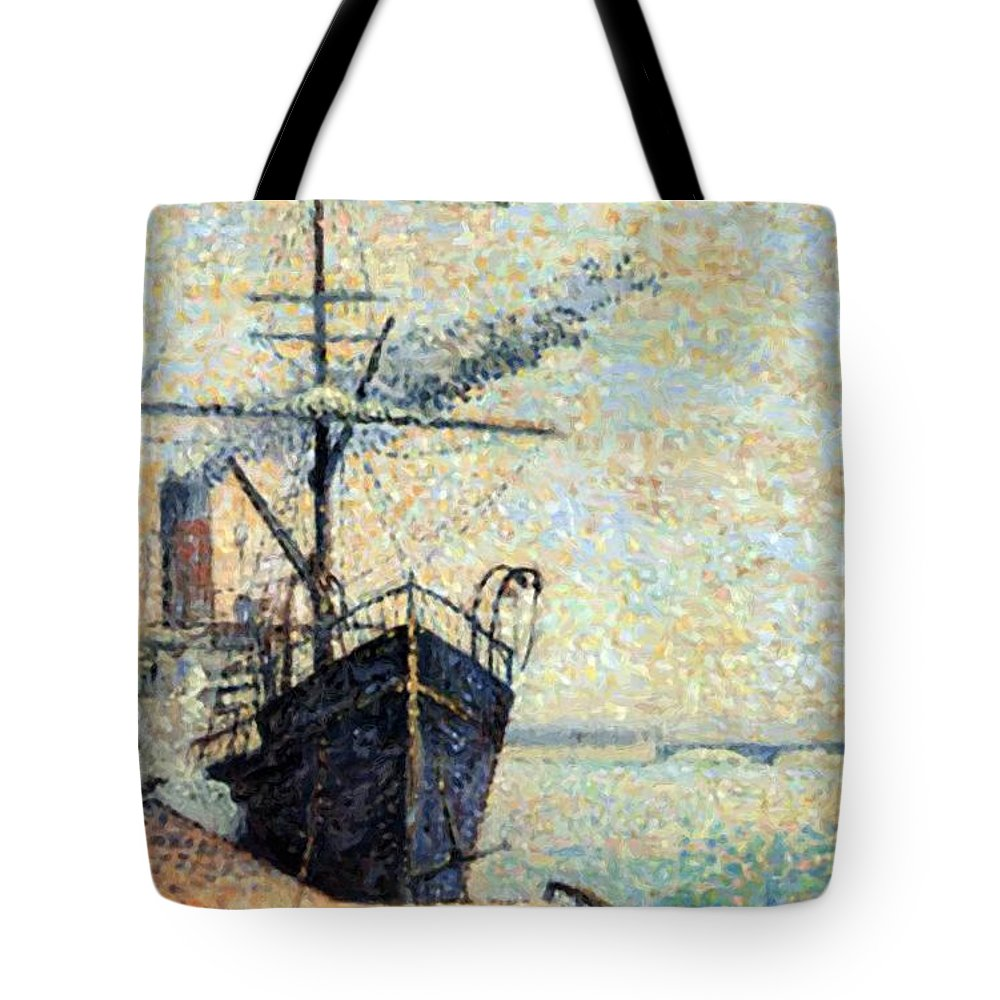 Ankerplaats Tote Bag featuring the painting Ankerplaats 1885 by DuboisPillet Albert