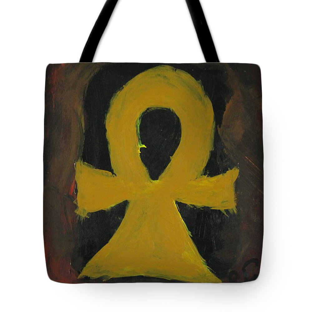 Eternal Life Tote Bag featuring the painting Ankh by Sonye Locksmith